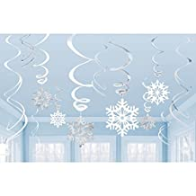 Pack Of 6 Silver + White Hanging Snowflake Swirl Christmas Decorations