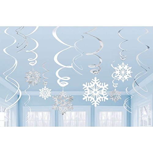 Toyland 12 Silver + White Hanging Snowflake Swirl Decorations for Frozen Themed Parties ()