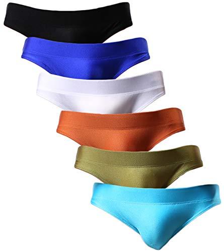 YuKaiChen Men's Briefs Low Rise Bikini Underwear Bulge Enhancing 6-Pack M (Mens Nylon Underwear Briefs)