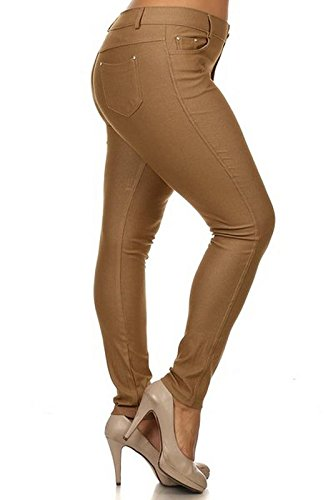 Yelete Women's Plus Size Cotton Blend Stretchy Jeggings with 5 Pockets Khaki - Plus Camel