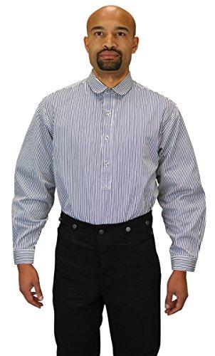 Historical Emporium Men's Coulter Edwardian Club Collar Dress Shirt L Black / White (Dickens Dress)