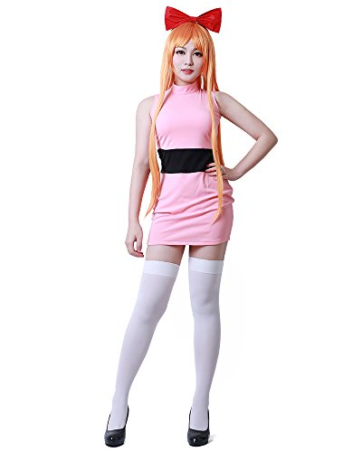 Miccostumes Women's Powerpuff Girls Blossom Bubbles Buttercup Cosplay Costume (Women l, Light Pink)