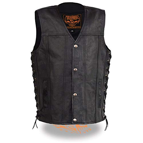 - Milwaukee Leather Boy's Youth Sized Snap Front Side Lace Leather Vest-BLACK-28 (Black, 28