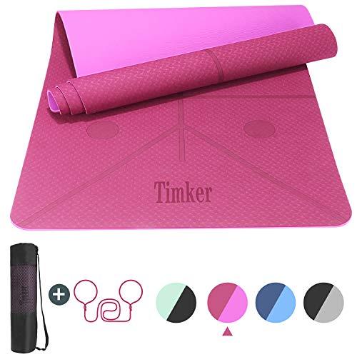 🥇 Timker Esterilla Yoga Colchoneta de Yoga Antideslizante Material ecológico TPE líneas corporales Yoga Mat diseñado con Correa de Hombro- 183cm x 61cm