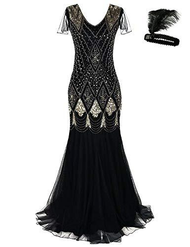 Women 1920s Flapper Cocktail Maxi Long Gatsby Evening Dress Mermaid Formal Gown (Black/Gold, XXL)]()