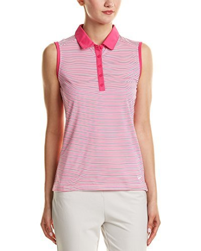 Nike Golf Women's Dry-Fit Stripe Polo Shirt Pink White 725600 616 (s)