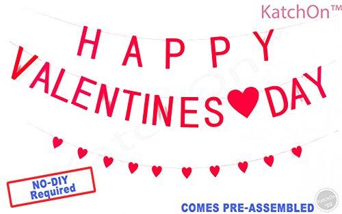 KATCHON Happy Valentines Day Felt Banner With Heart