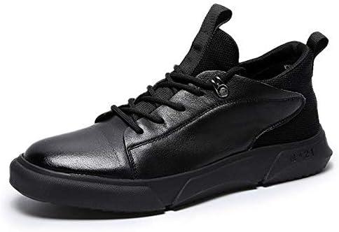 メンズカジュアルシューズ春のスポーツの靴レースアップレザーとファブリックスプライシングラウンドプルフラットソールプラットフォームソリッド 快適な男性のために設計