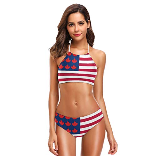 Cindly USA Canada Maple Flag Bikini Swimsuit Womens High Neck Halter Two Piece Bathing Suit
