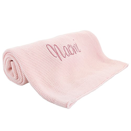 Monogrammed Baby Blanket, Soft Knit, Pink Personalized Baby Gifts for Girls