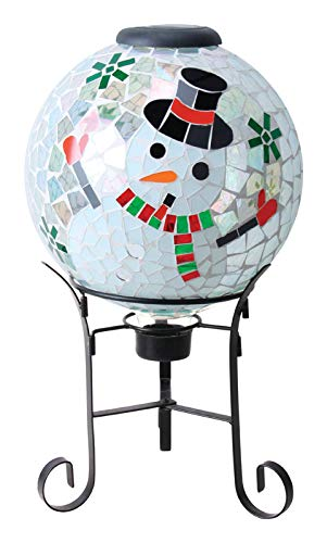 Alpine GRS922A-SLR Solar Mosaic Snowman Gazing Globe w/Metal Stand & 10 LEDs, 17 Inch Tall Multi-Color