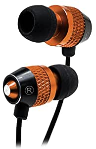 Bastex Universal Earphone/Ear Buds 3.5mm Stereo Headphones In-Ear Tangle Free Cable with Built-In Microphone Earbuds For iPhone iPod iPad Samsung Android Mp3 Mp4 and more-Gold/ Black