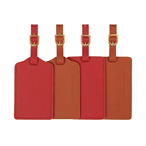 Vigorport Leather Luggage Tags Personalized Suitcase Tag Set Luggage id Holder with Full Back Privacy Cover-Set of 4