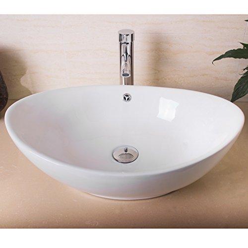 Oval Vessel Lavatory Sink (Walcut USBR1027 Bathroom Boat Shape Oval Lavatory Porcelain Ceramic Vessel Vanity Sink Art Basin & & Chrome Faucet)