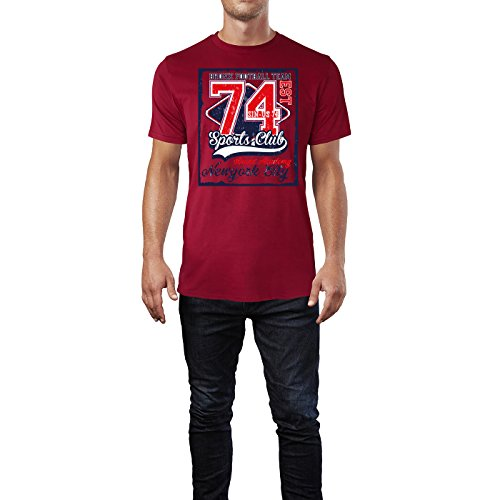 Sinus Art ® Herren T Shirt Sports Club 74 ( Independence_Red ) Crewneck Tee with Frontartwork