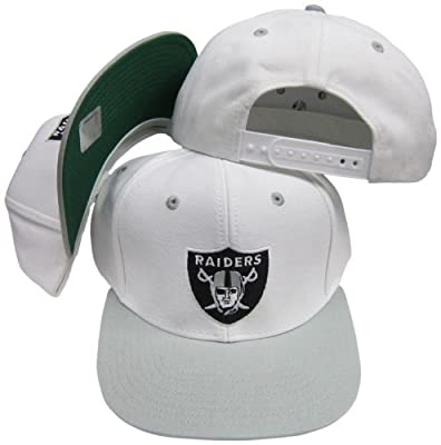 Reebok Oakland Raiders White/Silver Two Tone Plastic Snapback Adjustable Plastic Snap Back Hat/Cap