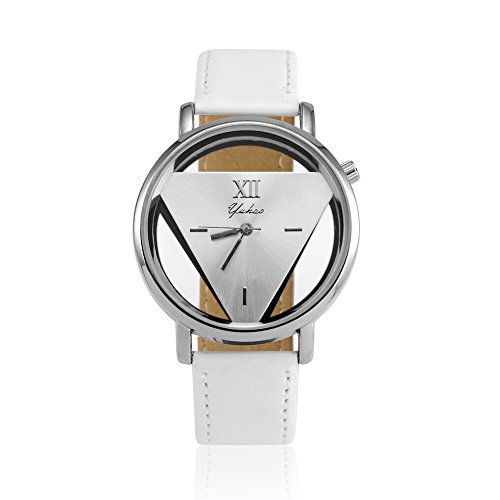 OCt17 Luxury Fashion Womens Mens Stainless Steel Faux Leather Band Quartz Analog Sport Wrist Watch - White