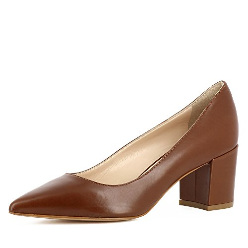 Evita Shoes Romina Damen Pumps Glattleder Cognac
