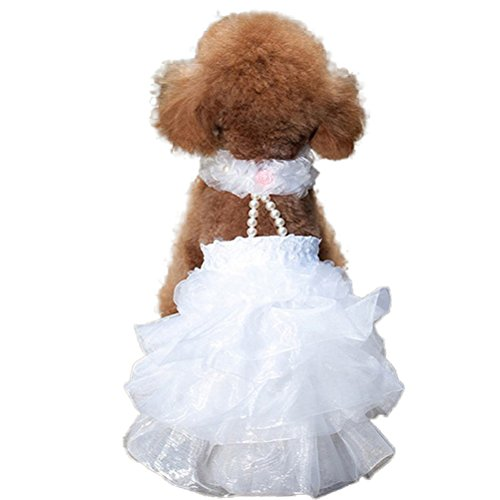 WORDERFUL Dog Wedding Dress Bride Outfit Pearl Necklace Rose Pet Princess Formal Apparel Puppy Cat (L)]()