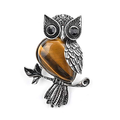 (Jovivi Vintage Crystal Rhinestone Natural Tiger Eye Leaf Cute Owl Bird Brooch Lapel Pins for Women Girls Wedding Bouquet)