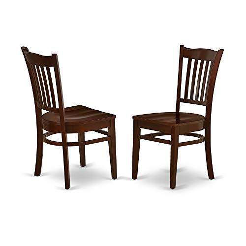 - East West Furniture GRC-MAH-W Groton Dining Chair with Wood Seat in Mahogany Finish (Set of 2),