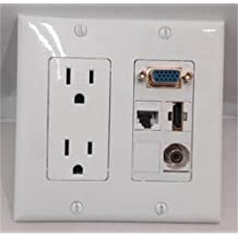 CERTICABLE CUSTOM DESIGNED WHITE DOUBLE GANG WALL PLATE - DOUBLE 110v POWER OUTLET - HDMI 1.4 + CAT 6 ETHERNET + 3.5MM STEREO + VGA/SVGA