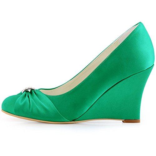 ElegantPark EP2005 Mujer Satén Punta Chiusa Arcos Cuña El tacón alto Rhinestones Bombas Zapatos de Novia Verde