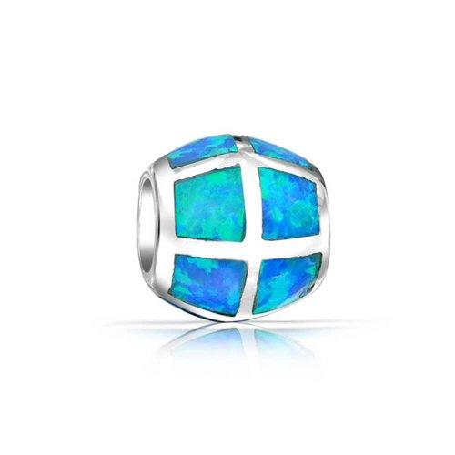 Aqua Created Blue Opal Inlay Barrel Charm Bead For Women For Teen 925 Sterling Silver Fits European Bracelet