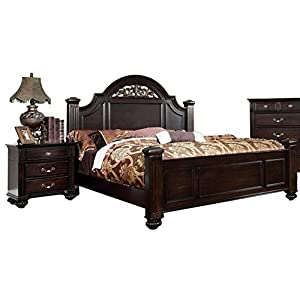 Oneida Dark Walnut Four Poster King Bed