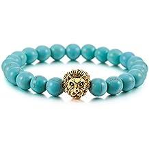 MOWOM Multicolor 8mm Wide Alloy Bracelet Link Wrist Energy Stone Buddha Mala Bead Lion Head Elastic