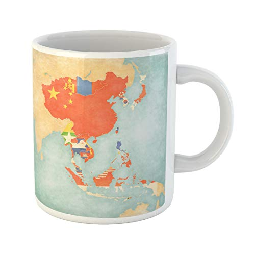 Semtomn Funny Coffee Mug Flags of All Countries Map East and Southeast Asia 11 Oz Ceramic Coffee Mugs Tea Cup Best Gift Or Souvenir