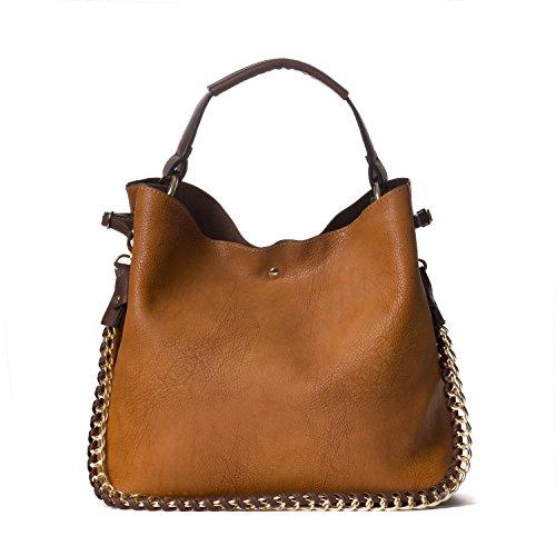 Handbag Republic Large Handbag Classic Top Handle Vegan Faux Leather Shoulder Bag For Women With Pouch