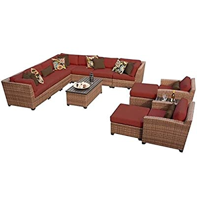 TK Classics 13 Piece Laguna Outdoor Wicker Patio Furniture Set, Terracotta - Fabric Warranty - 1 year coverage against fading Thick cushions for a luxurious look and feel Cushion Covers - Washable and zippered for easy cleaning (air dry only) - patio-furniture, patio, conversation-sets - 41s21EhroDL. SS400  -