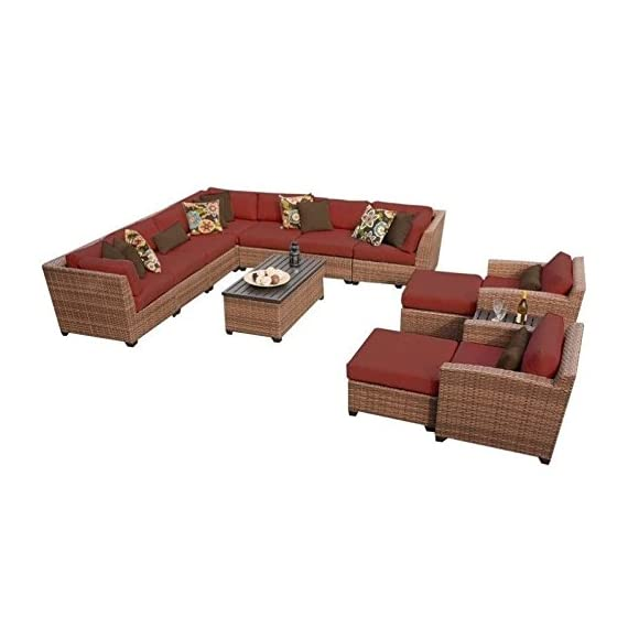 TK Classics 13 Piece Laguna Outdoor Wicker Patio Furniture Set, Terracotta - Fabric Warranty - 1 year coverage against fading Thick cushions for a luxurious look and feel Cushion Covers - Washable and zippered for easy cleaning (air dry only) - patio-furniture, patio, conversation-sets - 41s21EhroDL. SS570  -