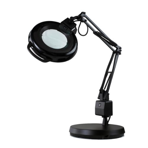 Electrix 7125 BLACK Magnifier Lamp, Fluorescent, Weighted...