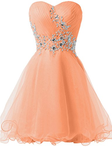 Steine Orange Promkleid Herzform Sweetheart Abendkleid Mini Cocktailkleid Tuell Ivydressing Festkleid Damen gTfgx