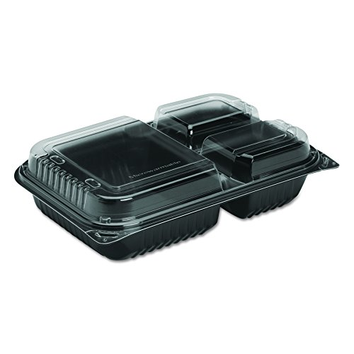 Solo 919019-PM94 11.5 in Black/Clear PM Plastic Hinged Container, 11.5 X 8.05 in (Case of - Base Hinged Black Plastic