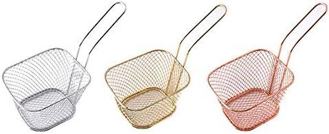 Silverfer Cuisine Cuisson Outils Mini en Acier Inoxydable Fran/çais Frites Net Fry Friteuse Panier Petite Forme Carr/ée Panier /À Cuisine