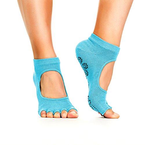 Yoga Socks - Non Slip, Non Skid, Slip Resistant Toeless Grip Sock for Women & Men Doing Yoga and Pilates - Blue Small