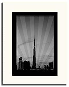 Dubai Skyline Down Town - Black And White No Text F05-m (a3) - Framed