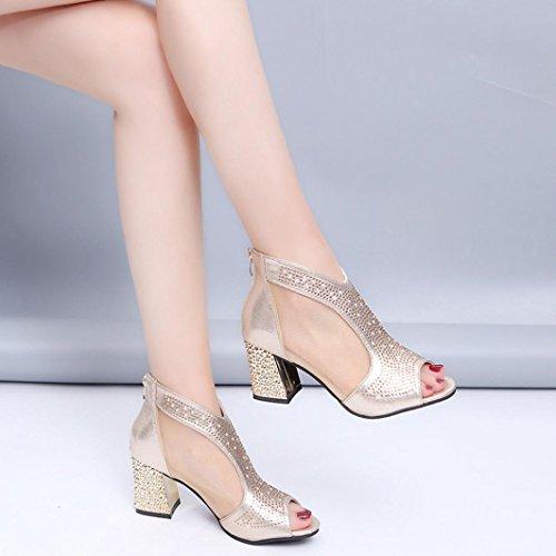 Boucle Poisson Métal À Femmes Fermeture Avec À Rivets Sandales L'or Hunpta Bouche Talons Glissière Rude Haute En Chaussures Szqwyt