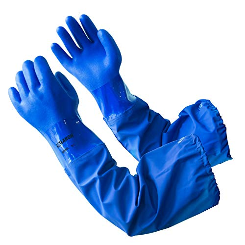 26 Inch Reusable Oil Resistant Work Gloves for Fishing, Elbow Length Chemical Resistant Glove, Non-slip, Latex Free, Textured, Large, CAT II, LANON Protection from LANON Protection