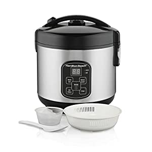 Hamilton Beach Rice & Hot Cereal Cooker, 4-Cups uncooked resulting in 8-Cups (Cooked), with Steam & Rinse Basket (37518)