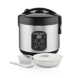 Hamilton Beach Digital Programmable Rice Cooker & Food Steamer, 8 Cups Cooked (4 Uncooked), With Steam & Rinse Basket…
