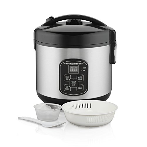 (Hamilton Beach (37518) Rice Cooker, 4 Cups uncooked resulting in 8 Cups Cooked with Steam & Rinse Basket)