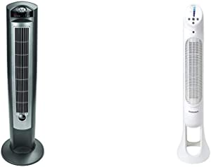 """Lasko Portable Electric 42"""" Oscillating Tower Fan with Nighttime Setting, Timer and Remote Control for Indoor, Bedroom and Home Office Use, Silver T42951 & Honeywell Quiet Set Whole Room Tower Fan"""