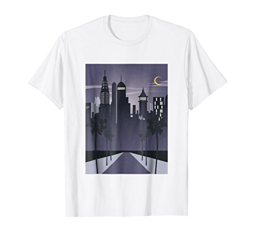 New York City Poster Retro Art Deco Lights at Night TShirt