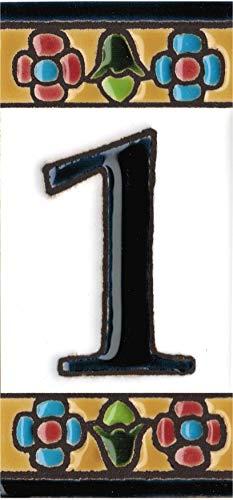 Grabado y Ceramica Espa/ñola N/úmero 1 N/úmeros y letras para casas 3,5 x 7,5 cm Pintados a mano con la t/écnica de la cuerda seca