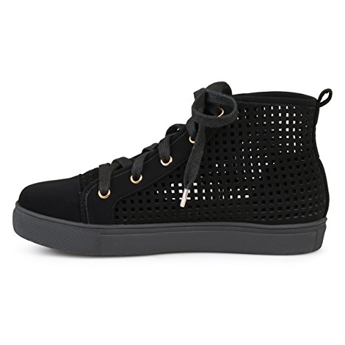Brinley Co Womens Faux Leather High-Top Lace-up Laser-Cut Sneakers Black yBoeqhi