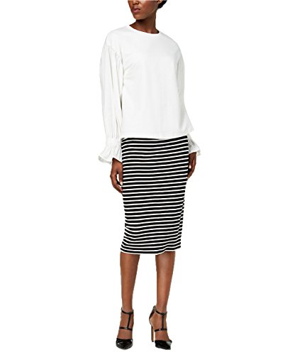 Olivia & Grace French Terry Smocked-Sleeve Top (XL, White)